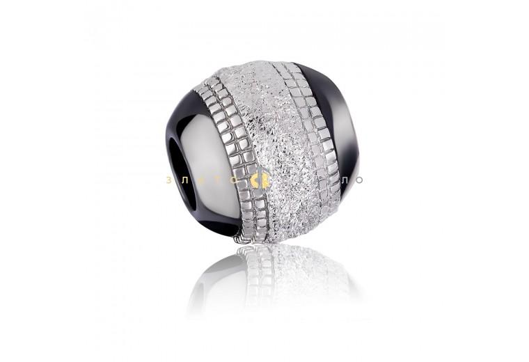 Срібний шарм «Бішелье» з чорною керамікою