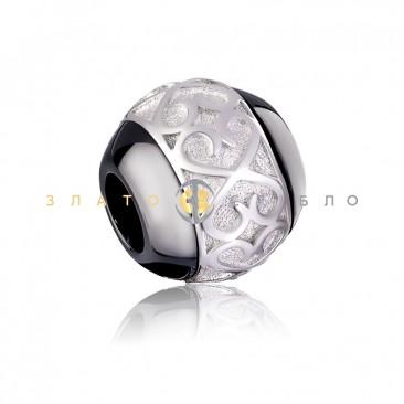Серебряный шарм «Делфина» с черной керамикой