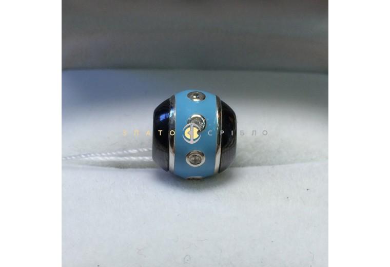 Срібний шарм «Морський бриз» з чорною керамікою
