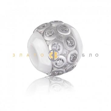 Серебряный шарм  «Сакура» с белой керамикой
