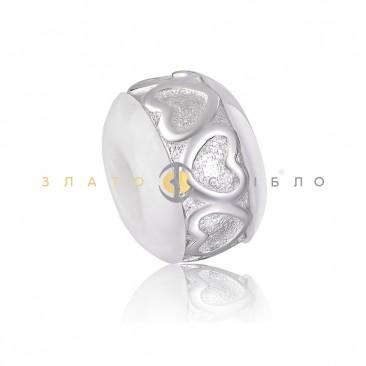Серебряный шарм «Шерами» с белой керамикой