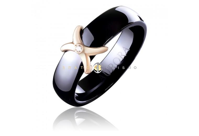 Керамическое кольцо «Мадонна Black» с бриллиантом и накладкой из красного золота