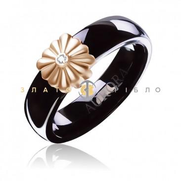 Керамічна каблучка «Вінтаж Black» з діамантом та накладкою з червоного золота