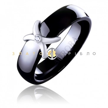 Керамическое кольцо «Мадонна Blak» с бриллиантом и накладкой из белого золота