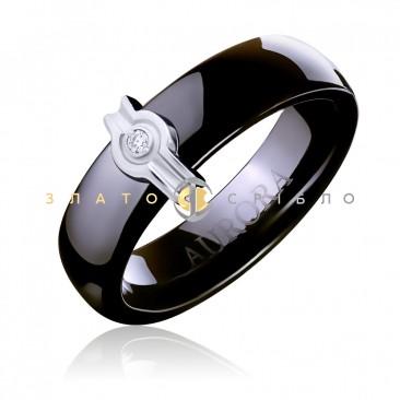Керамічна каблучка «Наомі Black» з діамантом та накладкою з білого золота