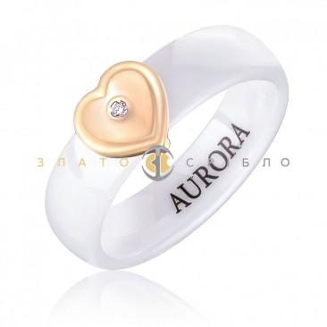 Керамическое кольцо «Шанель White» с бриллиантом и накладкой из красного золота