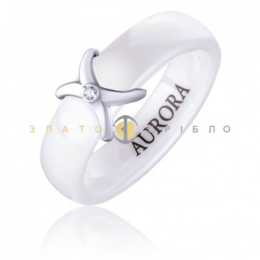 Керамическое кольцо «Мадонна White» с бриллиантом и накладкой из белого золота