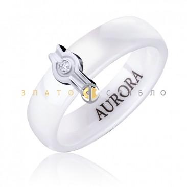 Керамічна каблучка «Наомі White » з діамантом та накладкою з білого золота
