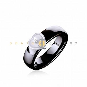 Керамическое кольцо «Шанель Black» с бриллиантом и накладкой из белого золота