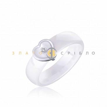 Керамическое кольцо «Шанель White» с бриллиантом и накладкой из белого золота