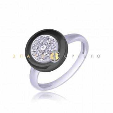 Серебряное кольцо «Монтана» с черной керамикой