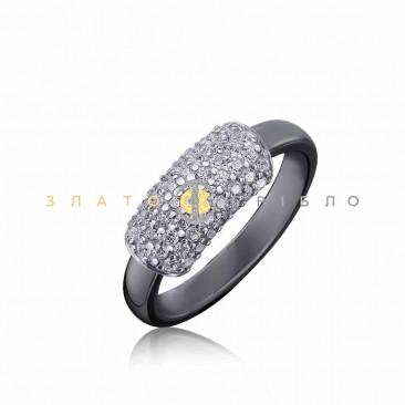 Серебряное кольцо «Саманта» с черной керамикой