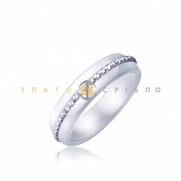 Серебряное кольцо «Мишель» с белой керамикой