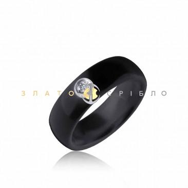 Серебряное кольцо «Калифорния» с черной керамикой