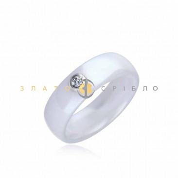 Серебряное кольцо «Калифорния» с белой керамикой