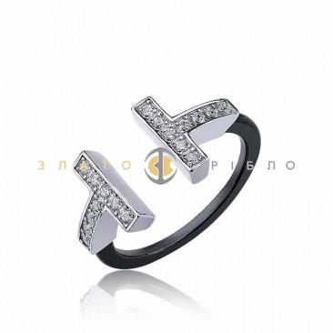 Серебряное кольцо «Джемма» с черной керамикой