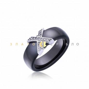 Серебряное кольцо «Орлеан» с черной керамикой
