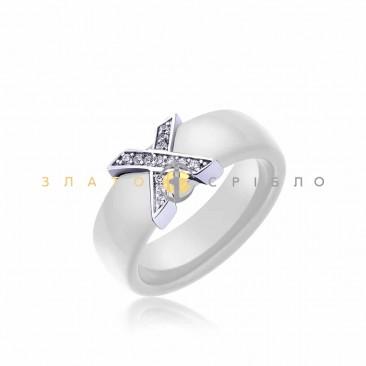 Серебряное кольцо «Орлеан» с белой керамикой