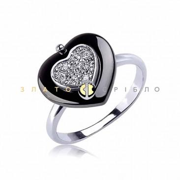Серебряное кольцо «Спеши любить» с черной керамикой