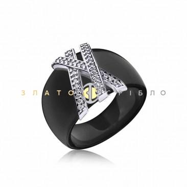 Серебряное кольцо «Жизель» с черной керамикой