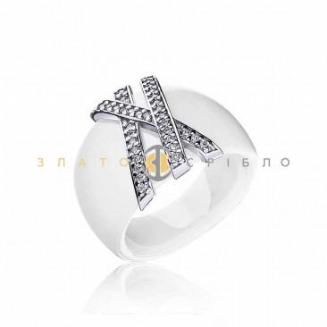 Серебряное кольцо «Жизель» с белой керамикой