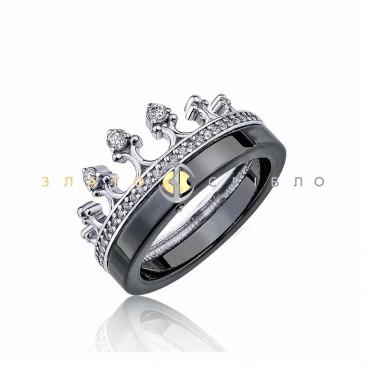 Серебряное кольцо «Королева ночи» c черной керамикой