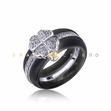 Серебряное кольцо «Монсоро» с черной керамикой