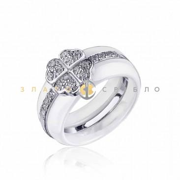 Серебряное кольцо «Монсоро» с белой керамикой