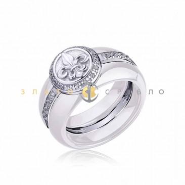 Серебряное кольцо «Fashion геральдика» с белой керамикой