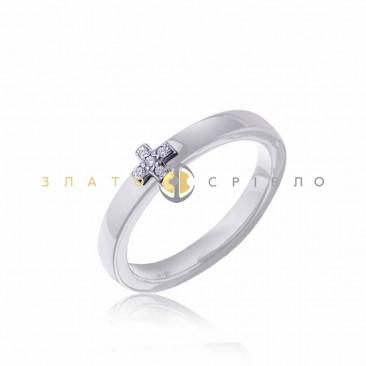 Серебряное кольцо «Вечность» с белой керамикой