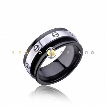 Серебряное кольцо «Марлен» с черной керамикой