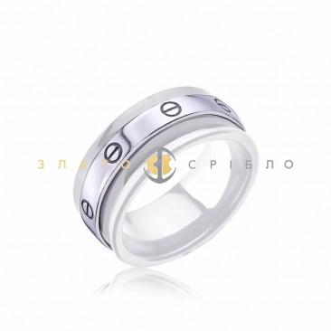 Серебряное кольцо «Марлен» с белой керамикой
