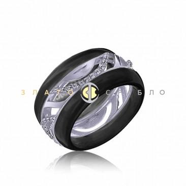 Серебряное кольцо «Катания» с черной керамикой