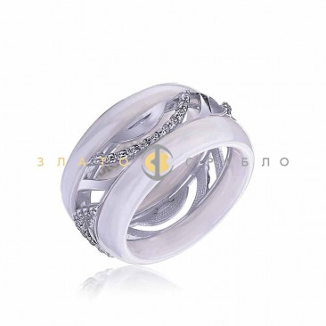 Серебряное кольцо «Катания» с белой керамикой