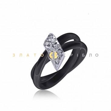 Серебряное кольцо «Изысканность» с черной керамикой