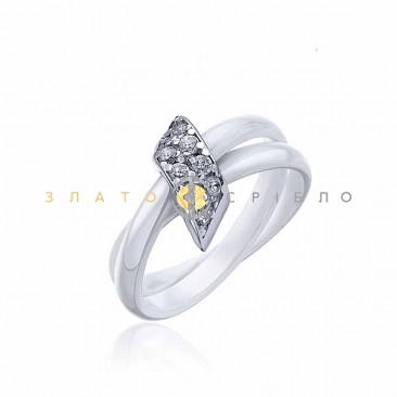 Серебряное кольцо «Изысканность» с белой керамикой