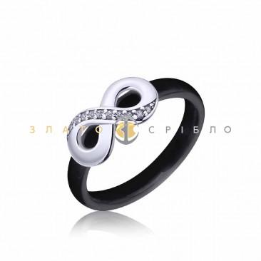 Серебряное кольцо «Пальмира» с черной керамикой