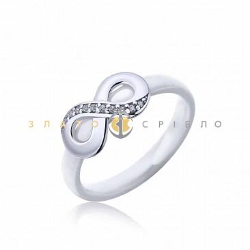 Серебряное кольцо «Пальмира» с белой керамикой