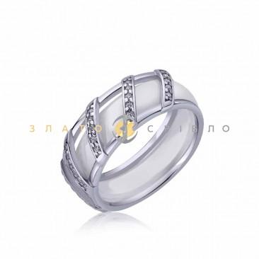 Серебряное кольцо «Мадрид» с белой керамикой