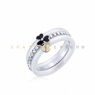 Серебряное кольцо «Селеста» с белой керамикой