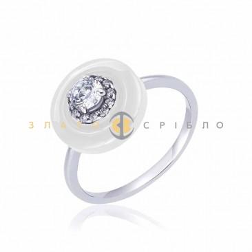 Серебряное кольцо «Diva» с белой керамикой