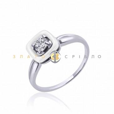 Серебряное кольцо «Зарина» с белой керамикой