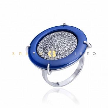 Серебряное кольцо «Отражение небес» с синей керамикой