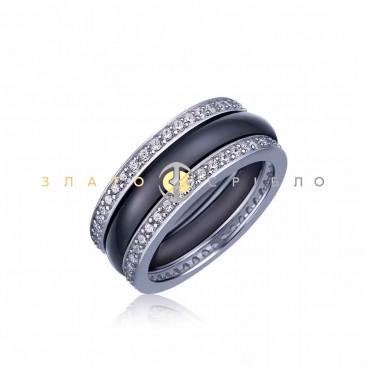 Серебряное кольцо «Ниагара» с черной керамикой