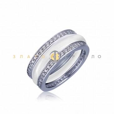 Серебряное кольцо «Ниагара» с белой керамикой