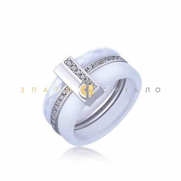 Серебряное кольцо «Камилла» с белой керамикой