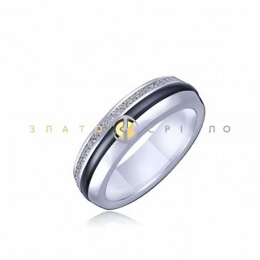 Серебряное кольцо «Джессика» с черной керамикой