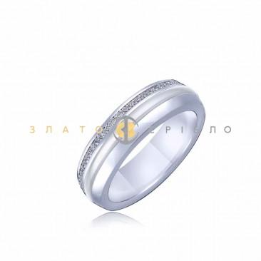 Серебряное кольцо «Джессика» с белой керамикой