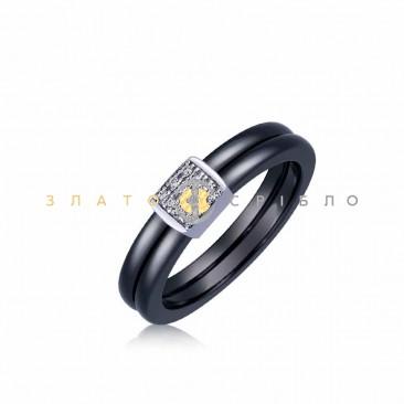 Серебряное кольцо «Маргарет» с черной керамикой