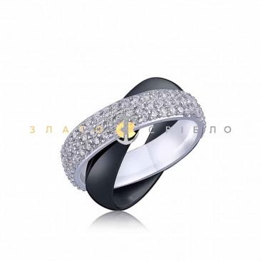 Серебряное кольцо «Стейси» с черной керамикой